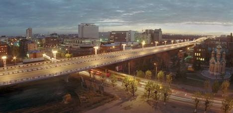Эстакада над ул. Красный путь ночью