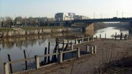 Набережная Оми, вид на Комсомольский мост