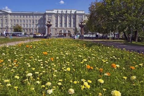 Город и цветы