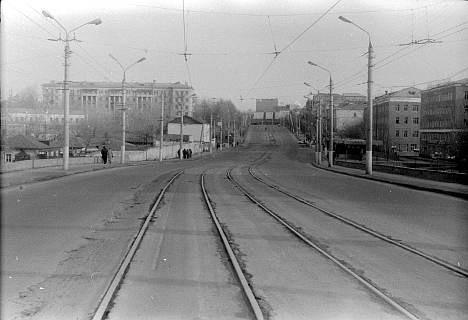 Трамвайный путь в центре Омска