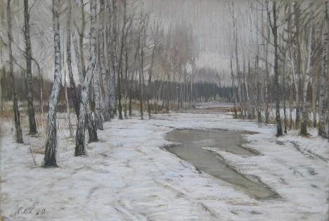 """А.Н. Либеров """"Первый снег"""", бумага, пастель"""