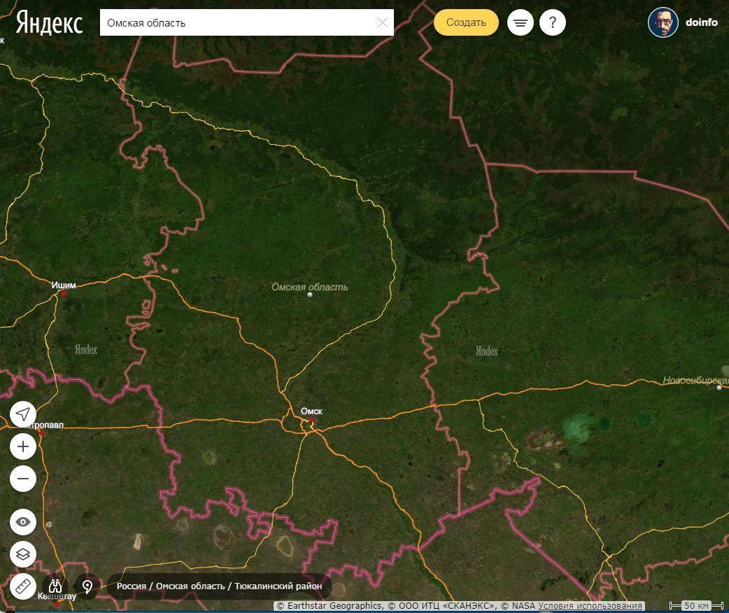 Народная Яндекс-карта Омской области