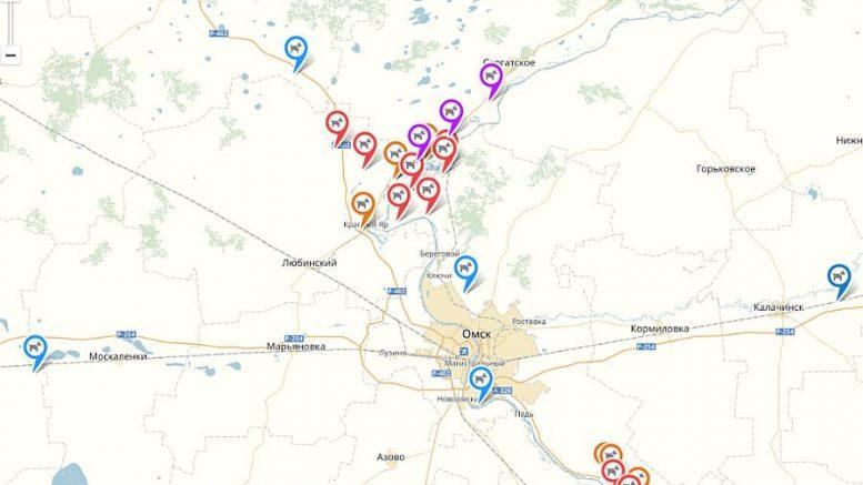 Карта АЧС в Омской области