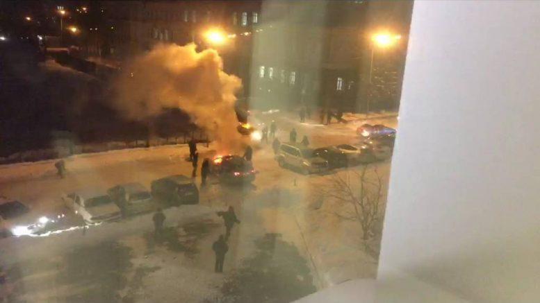 пожар в Омске в прямом эфире