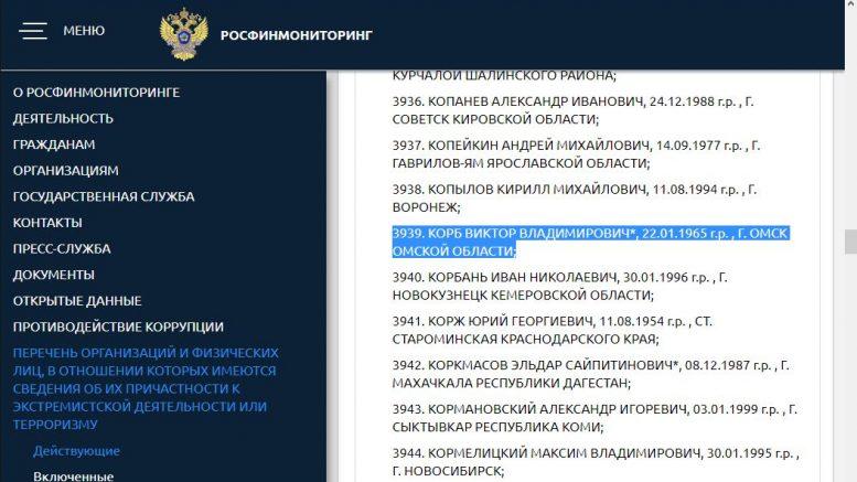 Виктор Корб в списке Росфинмониторинга