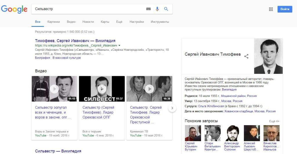 Поисковая выдача Гугла по запросу Сильвестр