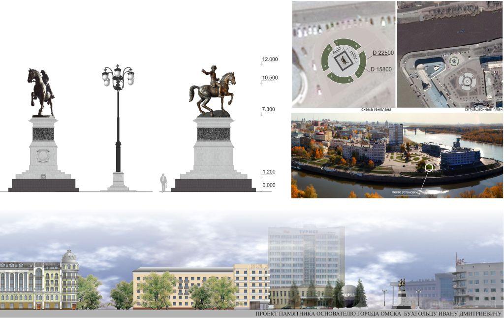 Архитектурная часть проекта памятника Бухгольцу в Омске