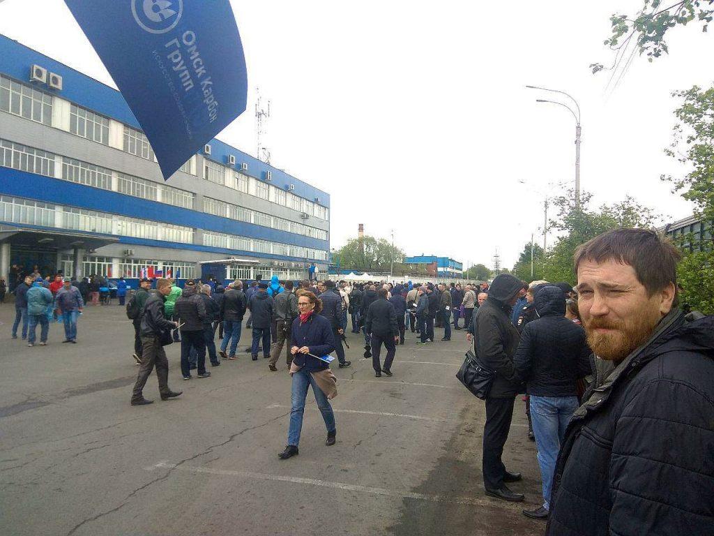Владимир Лифантьев на митинге Омсктехуглерода