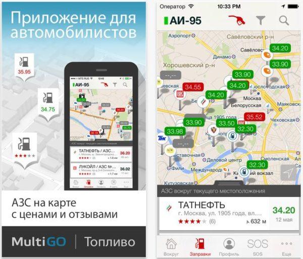 приложение MultiGo Топливо